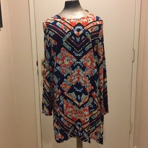 Wayf high low tunic multi color print dress